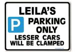 LEILA'S Personalised Parking Sign Gift | Unique Car Present for Her |  Size Large - Metal faced